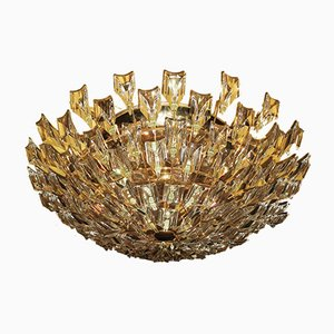 Italienische Deckenlampe aus vergoldetem Messing & Kristallglas von Stilkronen, 1970er