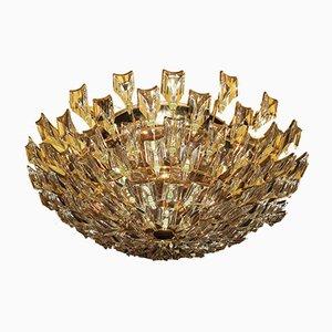 Lámpara de techo italiana de latón dorado y cristal de Stilkronen, años 70