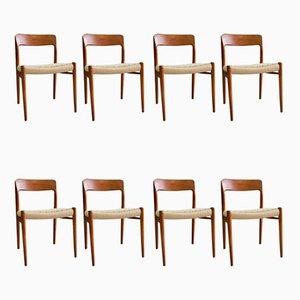 Modell 75 Esszimmerstühle aus Teak & Papierkordelgeflecht von Niels Otto Møller, 1960er, 8er Set