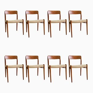 Teak and Paper Cord Model 75 Dining Chairs by Niels Otto Møller, 1960s, Set of 8