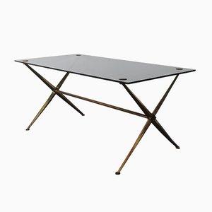 Table Basse Néoclassique Mid-Century en Laiton et Verre, France, 1950s