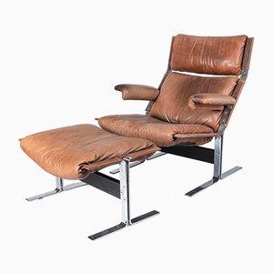 Vintage Italian Lounge Chair and Ottoman Set by Richard Hersberger for Saporiti Italia, 1970s