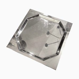 Vintage Italian Silver Plated Tray by Carlo Scarpa for Cleto Munari, 1970s