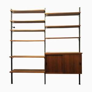 Teak and Black Metal Modular Wall Unit by Olof Pira, 1960s