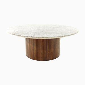 Tavolino da caffè in legno e marmo di Umberto Brandigi per Saporiti Italia, anni '60