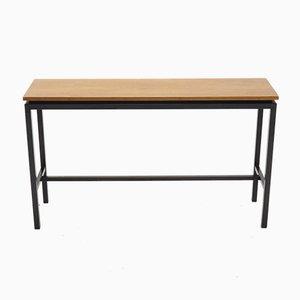 Mesa auxiliar holandesa minimalista de metal y teca, años 60