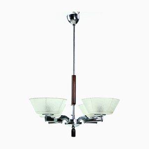 Lámpara de techo Art Déco de cromo, años 40