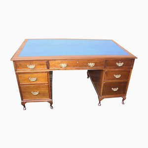 Large Mahogany and Blue Leather Pedestal Desk, 1960s