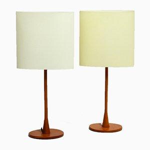 Lampes de Bureau Modèle Sara Vintage en Teck par Pierluigi Cerri pour Fontana Arte, Set de 2