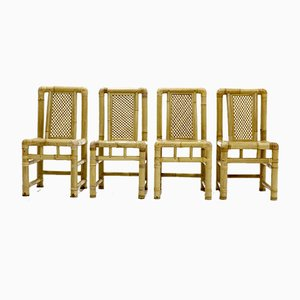 Mid-Century Bamboo Dining Chairs, 1970s, Set of 4