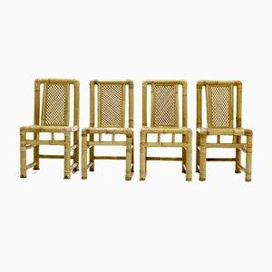 Mid-Century Esszimmerstühle aus Bambus, 1970er, 4er Set