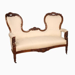 Italienisches Sofa aus Nussholz, 19. Jh.