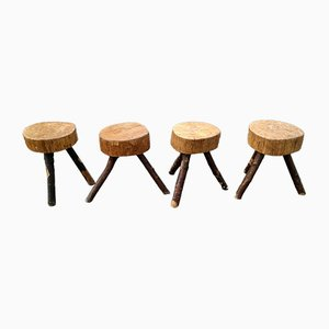 Brutalist Stools, 1950s, Set of 4