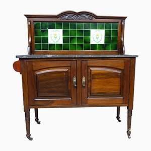 Antique Victorian Wood, Marble, and Green Tile Washstand