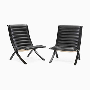 Model X-Chair Lounge Chairs by Peter Hvidt and Orla Møller-Nielsen for Fritz Hansen, 1950s, Set of 2
