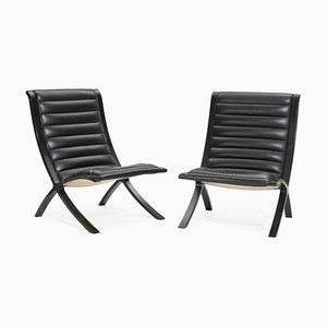 Model X-Chair Lounge Chairs by Peter Hvidt and Orla Møller-Nielsen for Fritz Hansen, 1950s, Set of 2