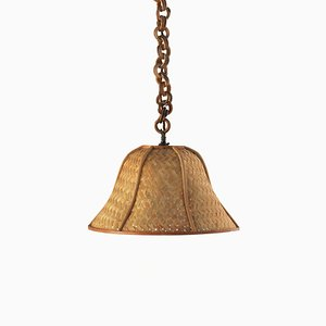 Vintage French Rattan Pendant Lamp, 1970s