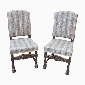 Antique Carved Walnut Throne Dining Chairs, Set of 2