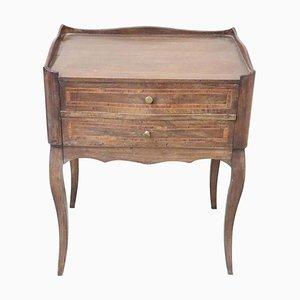Antiker italienischer Nachttisch aus Nussholz mit Intarsien