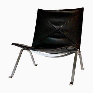 Vintage Model PK22 Black Leather Lounge Chair by Poul Kjærholm for Fritz Hansen