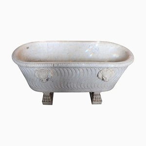Antique Carved Carrara Marble Planter