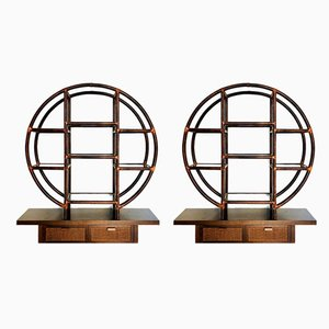 Vintage Round Bamboo Shelves, 1980s, Set of 2