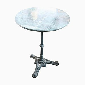 Antiker Säulentisch aus Gusseisen & grünem Marmor