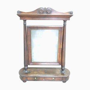 Antiker Tischspiegel aus Nussholz