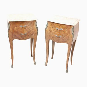 Italian Inlaid Wood and Gilt Bronze Nightstands, 1930s, Set of 2