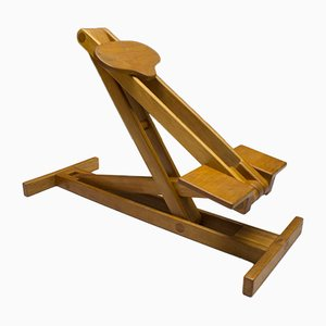 Taburete escandinavo ajustable de madera, años 60
