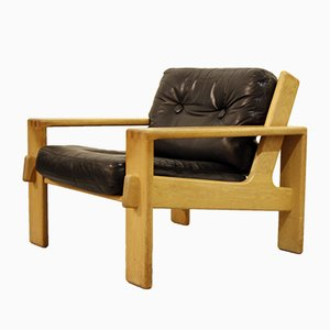 Oak and Black Leather Bonanza Chair by Esko Pajamies for Asko, 1960s