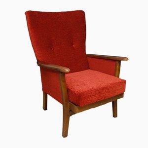Mid-Century Red Velvet Wingback Armchair, 1960s