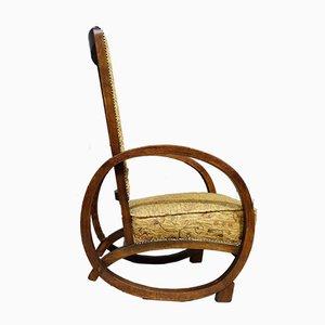 Sedia a dondolo vintage in legno curvato, anni '30