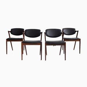 Modell 42 Esszimmerstühle aus Palisander & schwarzem Leder von Kai Kristiansen für Schou Andersen, 1950er, 4er Set