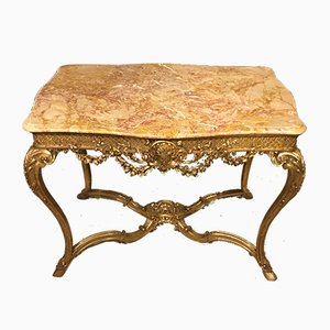 Antique Louis XVI Style French Carved Giltwood Console Table