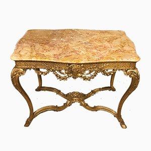 Consola francesa antigua estilo Luis XVI de madera dorada tallada
