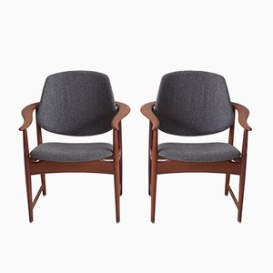 Teak Dining Chairs by Arne Hovmand-Olsen, 1950s, Set of 10