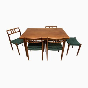 Dining Table & Chairs Set by Niels Otto Møller for J.L. Møllers, 1960s, Set of 6