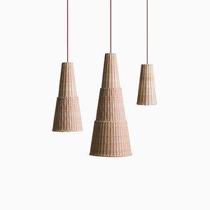 Lampes à Suspension Seia par Maurizio Bernabei pour Bottega Intreccio, Set de 3