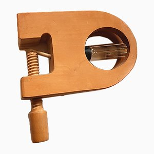 Vintage Wooden Clamp Lamp from Moinier Besson, 1970s