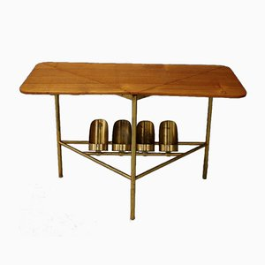Mid-Century Brass and Wood Coffee Table, 1950s