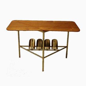 Tavolino da caffè Mid-Century in ottone e legno, anni '50