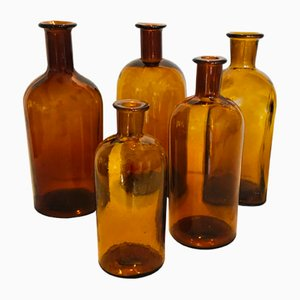 Bernsteinfarbene antike Apothekerflaschen, 5er Set