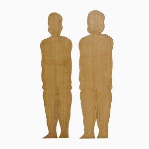 Vintage Italian Wooden Silhouette Sculptures, Set of 2