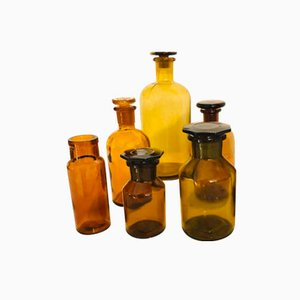 Antique Amber Apothecary Bottles, Set of 6