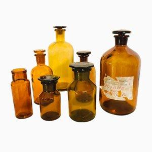 Bernsteinfarbene antike Apothekerflaschen, 7er Set