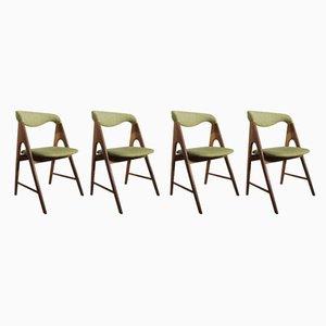 Esszimmerstühle aus Teak mit Wollbezug, 1950er, 4er Set
