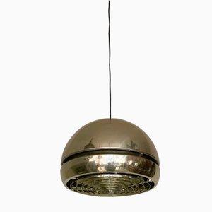 Golden Aluminum Pendant Lamp, 1970s