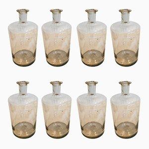 Antike Apothekerflaschen aus Klarglas, 8er Set