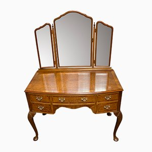 Vintage Queen Anne Burl Walnut Dressing Table with Mirror, 1920s